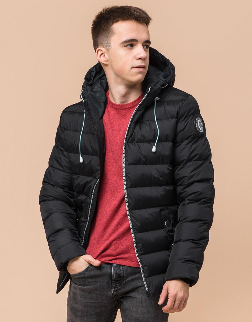 Комфортная черная подростковая куртка на зиму модель 76025 оптом фото 2