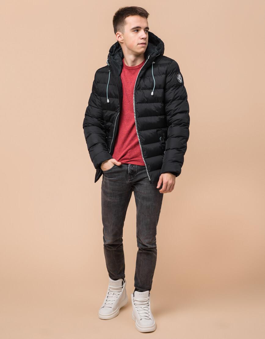 Комфортная черная подростковая куртка на зиму модель 76025 оптом фото 3