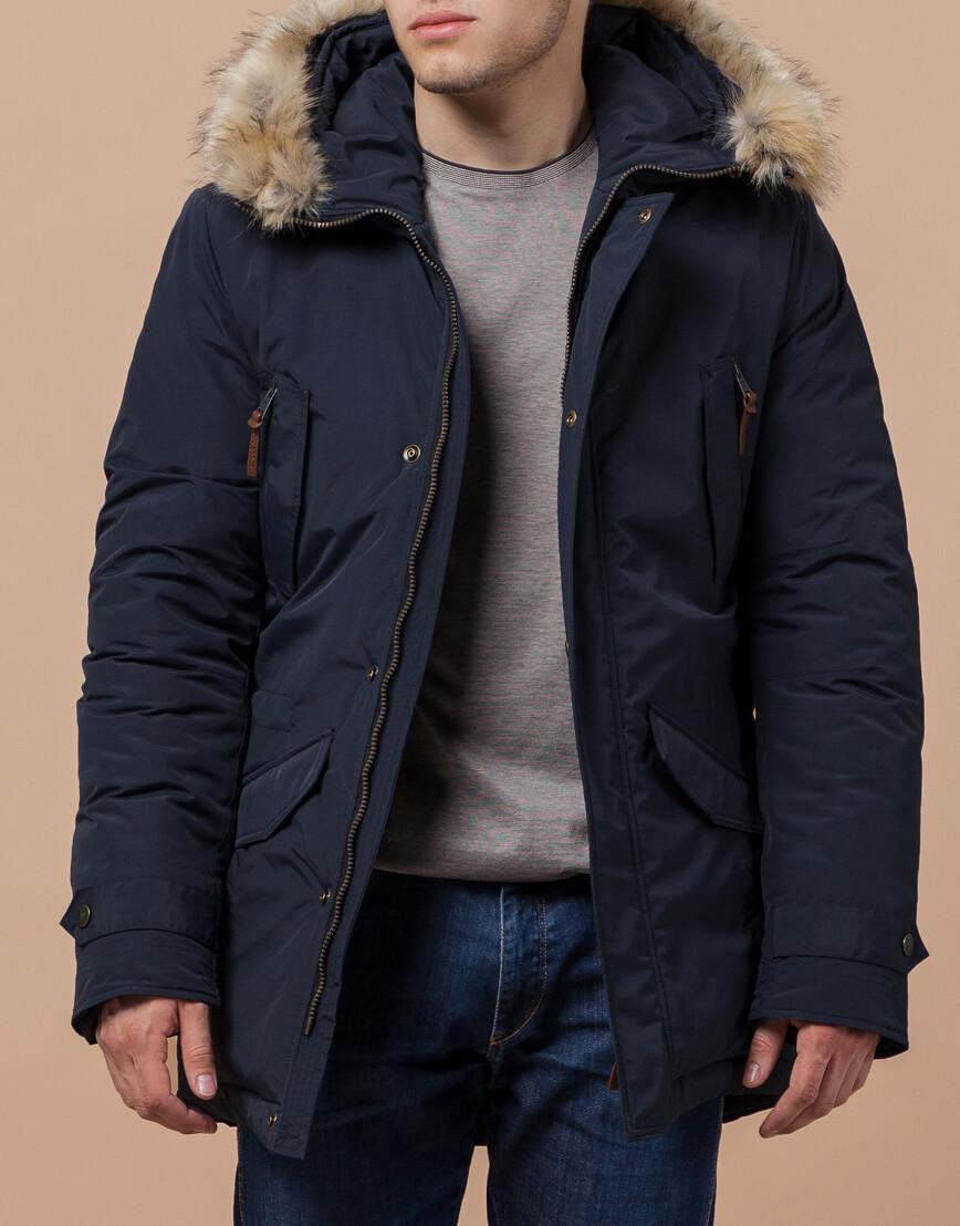 Парка синяя зимняя качественного пошива модель 32450 фото 2