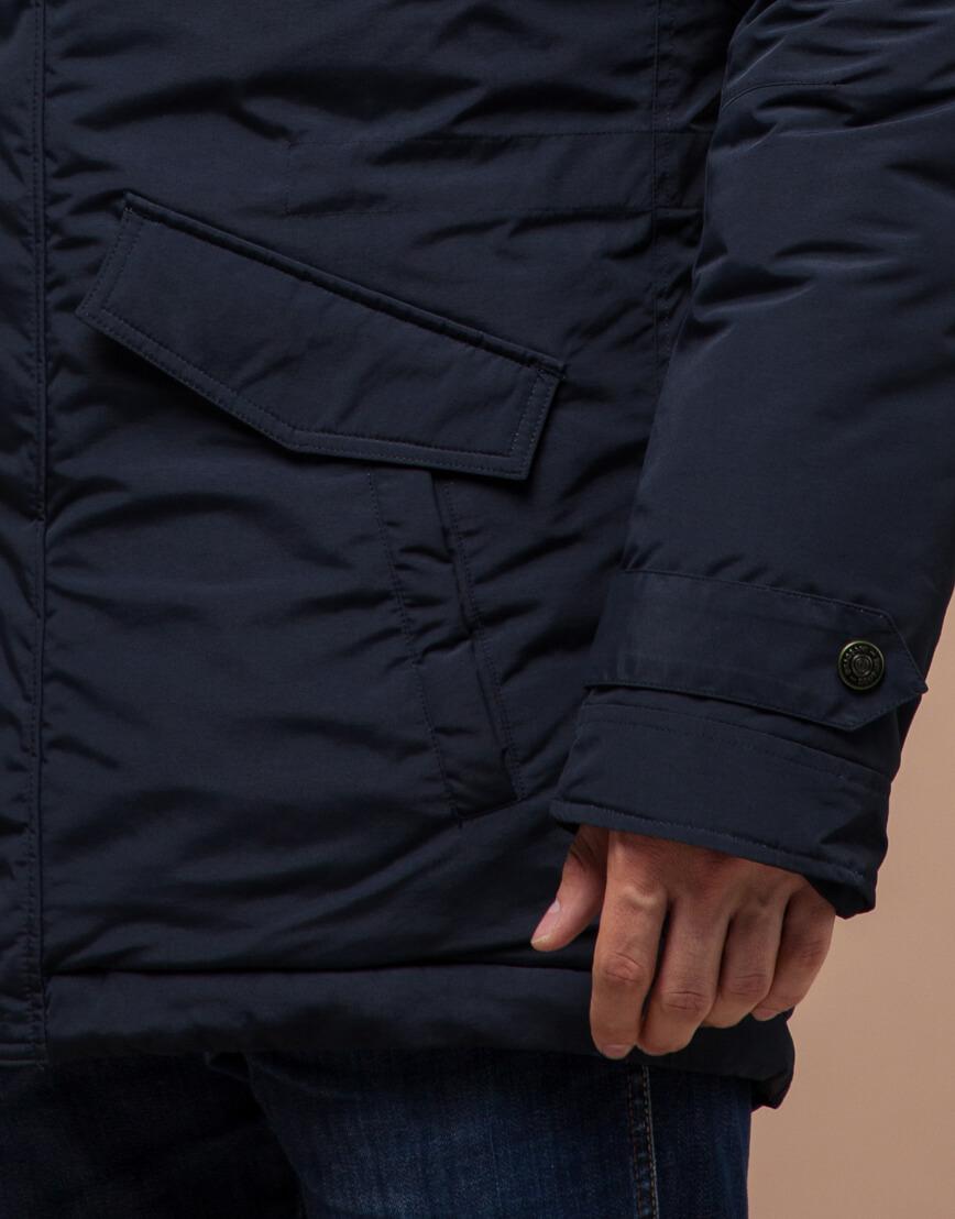 Парка синяя зимняя качественного пошива модель 32450 фото 5