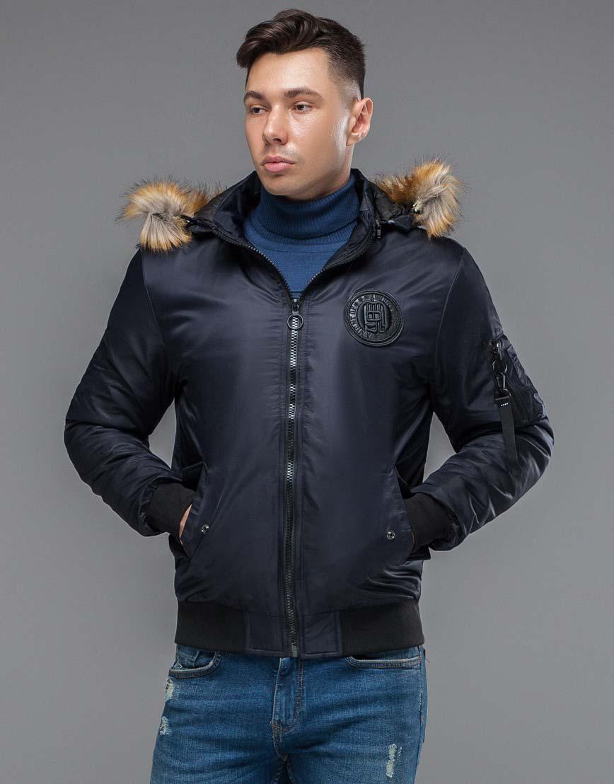 Теплая осенне-весенняя куртка бомбер темно-синяя модель 46575 фото 3