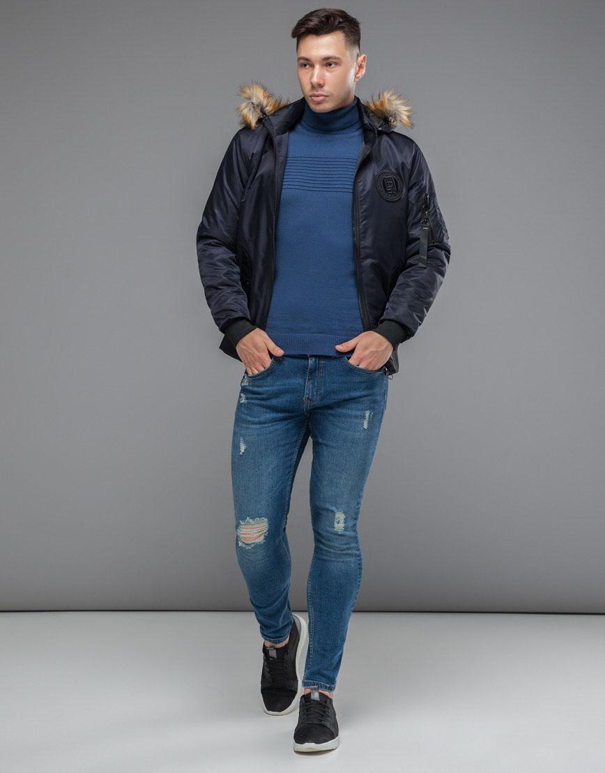 Теплая осенне-весенняя куртка бомбер темно-синяя модель 46575 фото 2