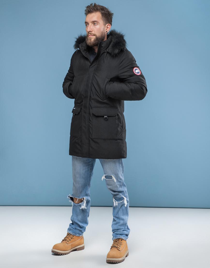 Чёрная мужская парка Canada зимняя фирменная 6010 фото 3