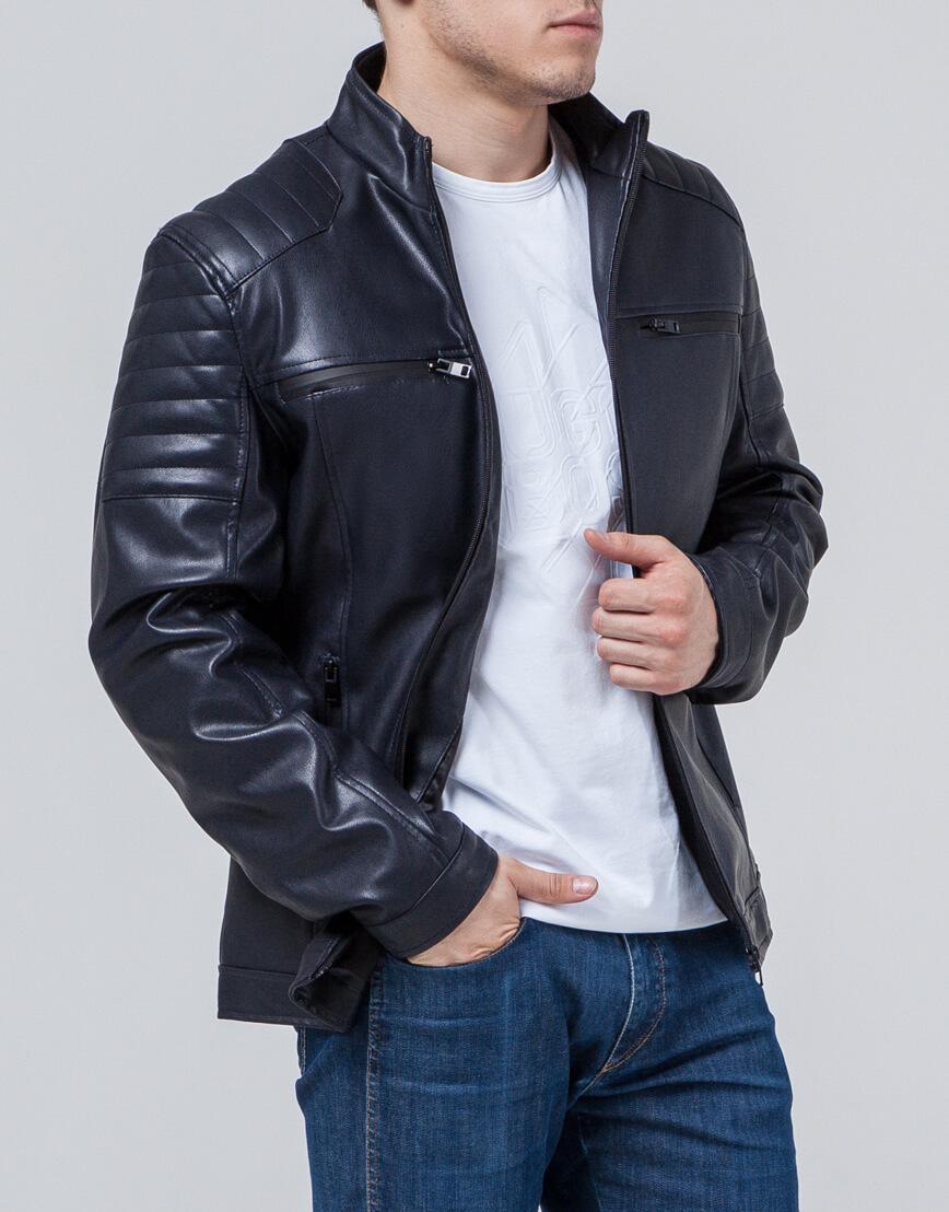 Ветровка темно-синяя мужская с карманами модель 3645 оптом
