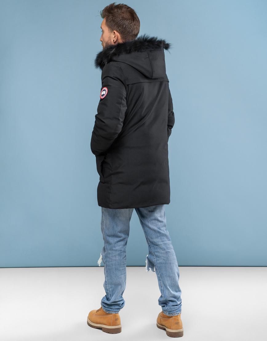 Чёрная мужская парка Canada зимняя фирменная 6010 фото 4
