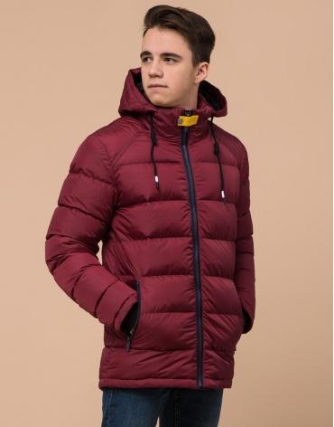 Бордовая трендовая куртка подростковая модель 75263 оптом