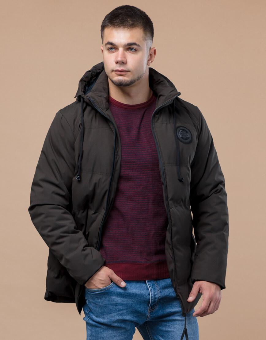 Куртка мужская цвета кофе практичная зимняя модель 25440