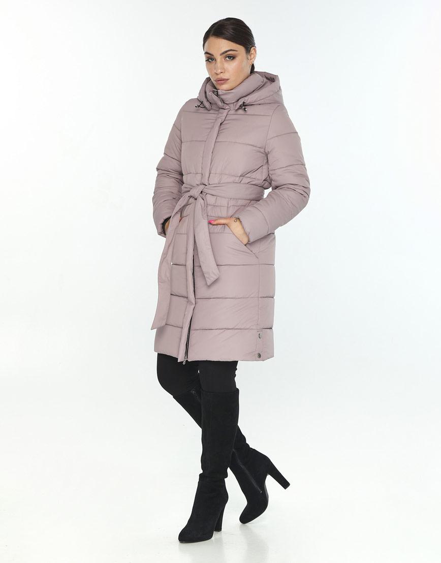 Куртка с поясом пудровая женская Wild Club для зимы 584-52 фото 2