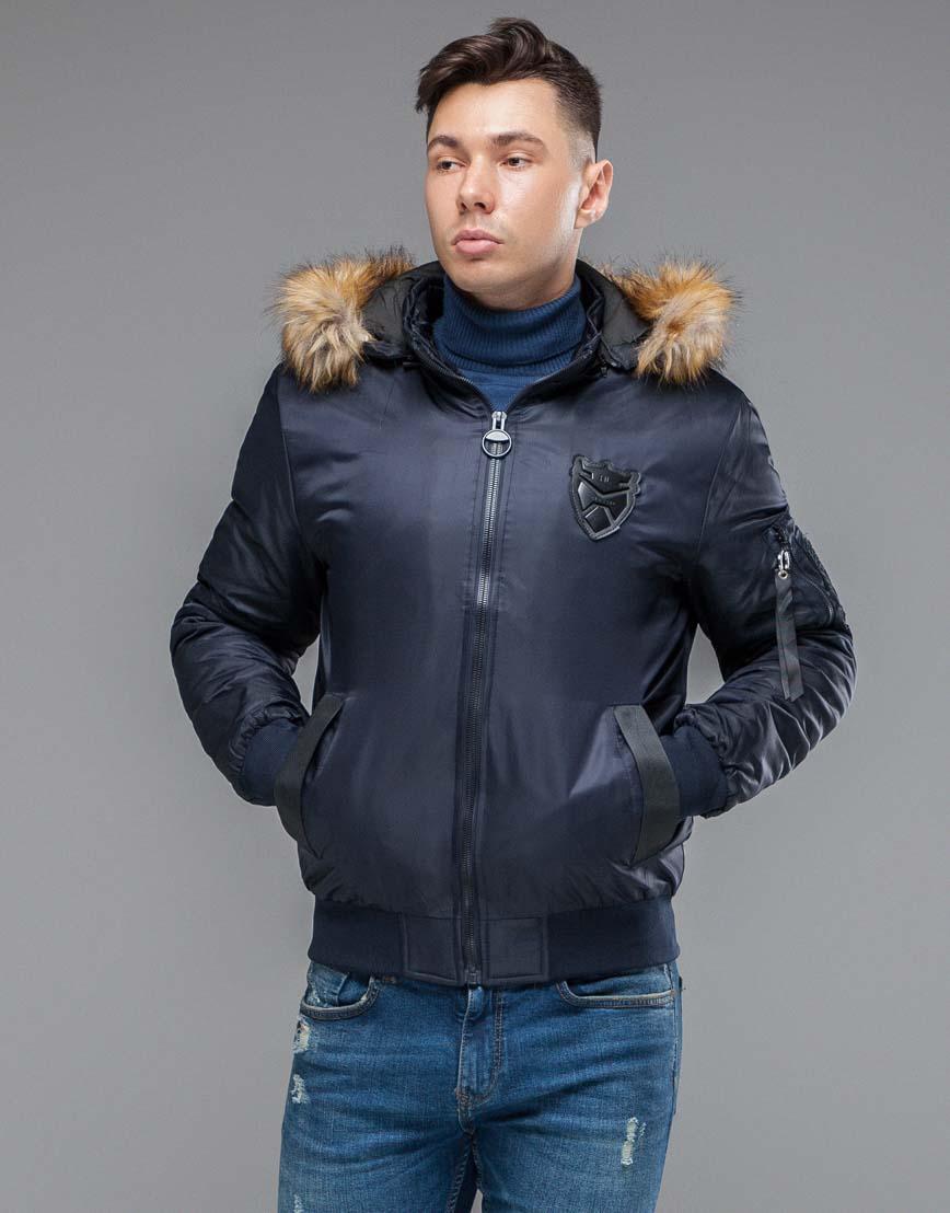 Брендовая осенне-весенняя куртка темно-синяя модель 50145 фото 3