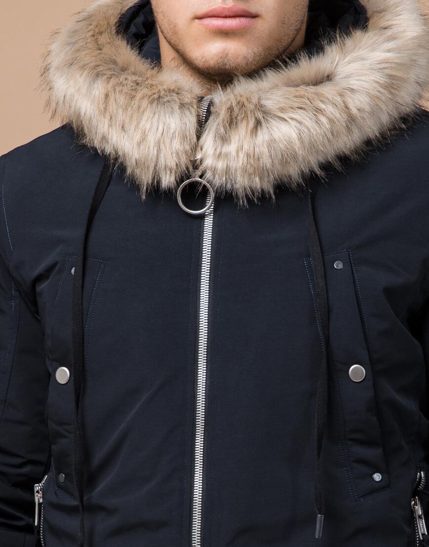 Мужская зимняя парка темно-синяя модель 15231 оптом