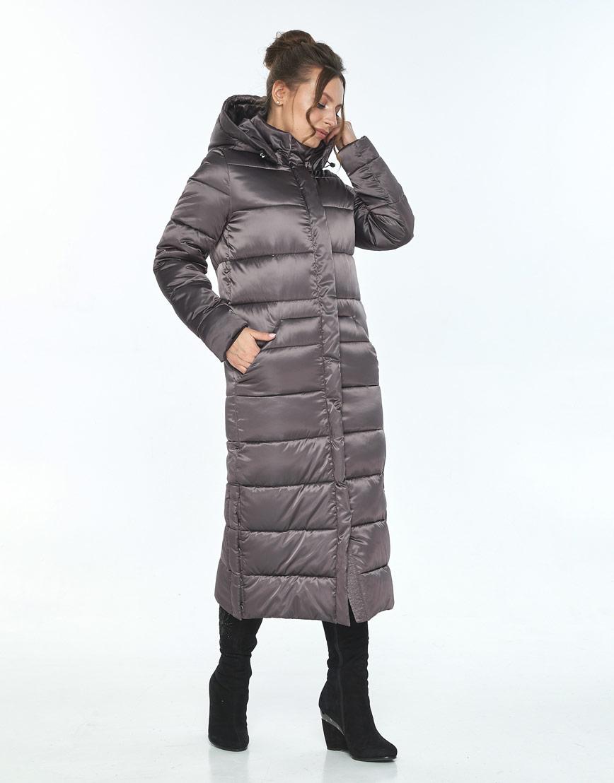 Капучиновая зимняя куртка с поясом женская Ajento 21207 фото 2