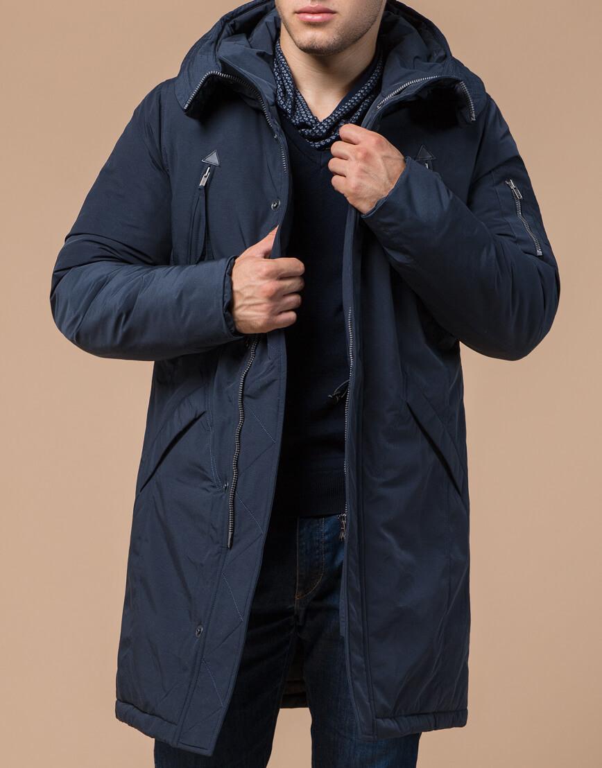 Синяя парка зимняя брендовая мужская модель 23675 фото 1