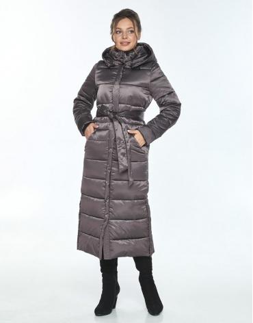 Капучиновая зимняя куртка с поясом женская Ajento 21207 фото 1