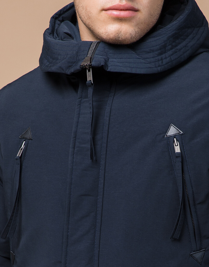 Синяя парка зимняя брендовая мужская модель 23675 фото 4