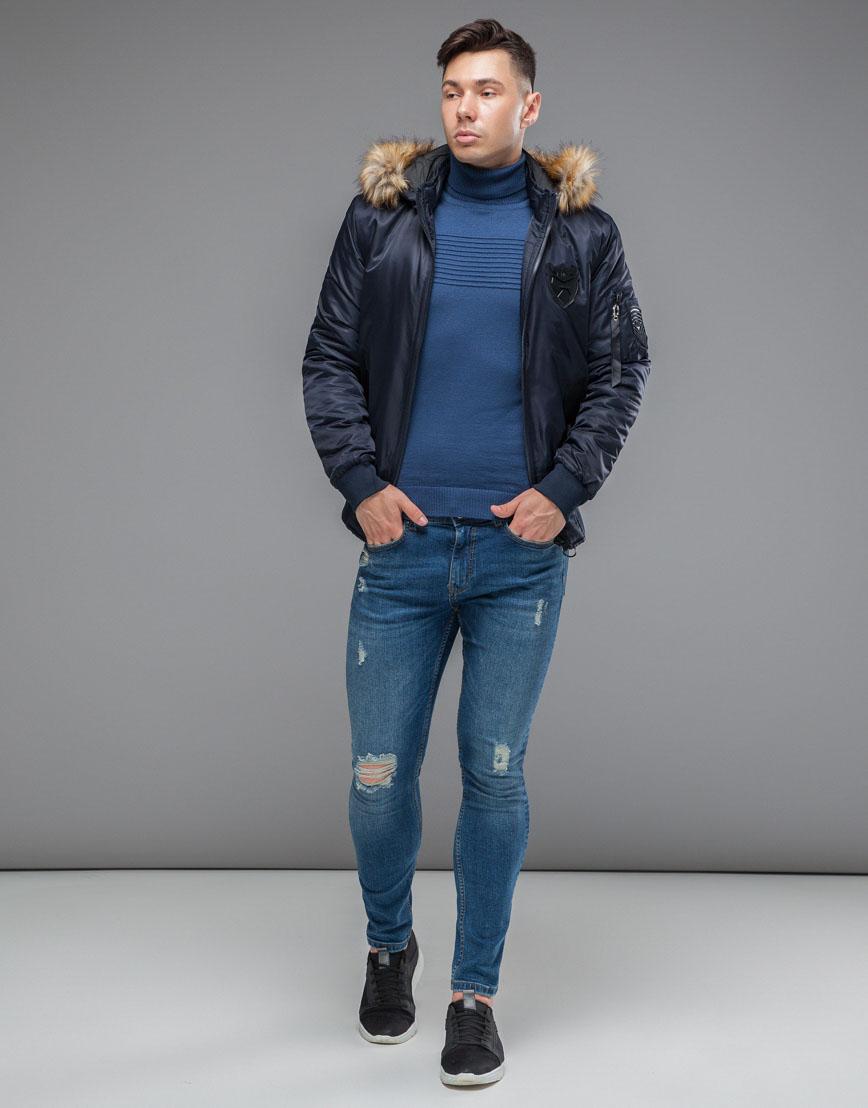 Брендовая осенне-весенняя куртка темно-синяя модель 50145 фото 2