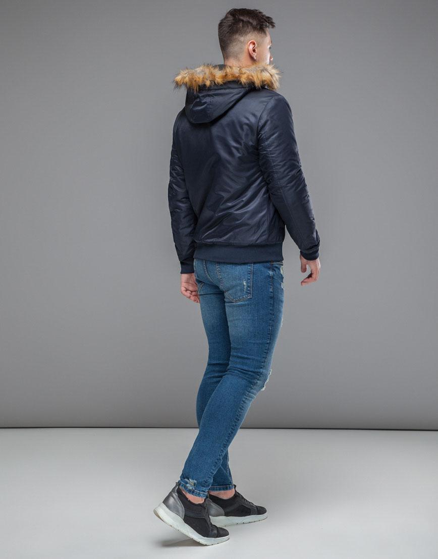 Брендовая осенне-весенняя куртка темно-синяя модель 50145 фото 4