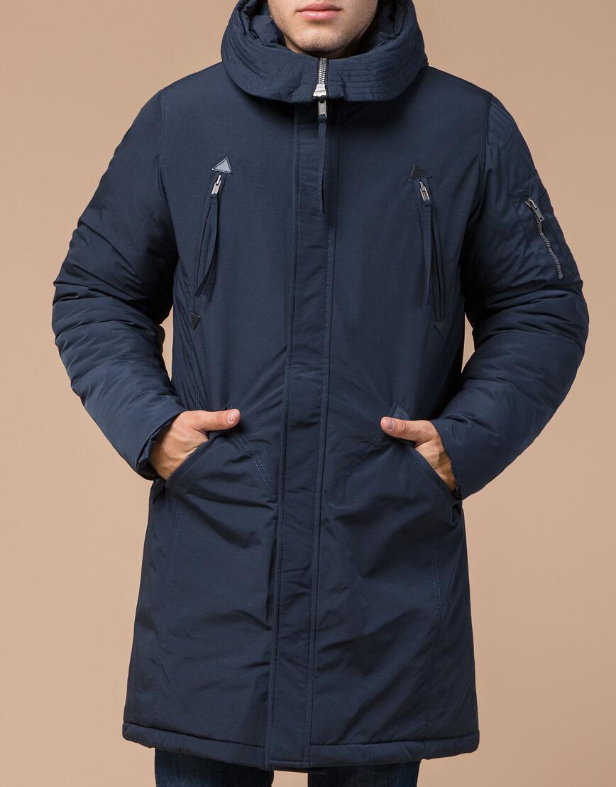 Синяя парка зимняя брендовая мужская модель 23675 фото 2