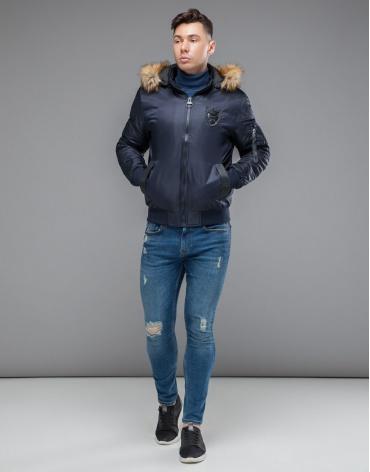 Брендовая осенне-весенняя куртка темно-синяя модель 50145 фото 1