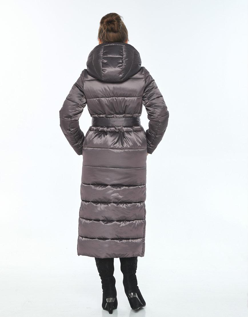 Капучиновая зимняя куртка с поясом женская Ajento 21207 фото 3