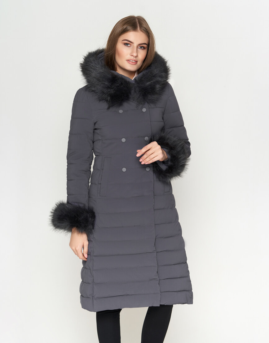 Серая женская куртка современная модель 6612 фото 3