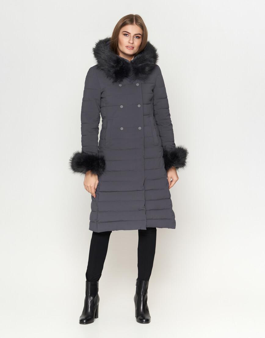 Серая женская куртка современная модель 6612 фото 2