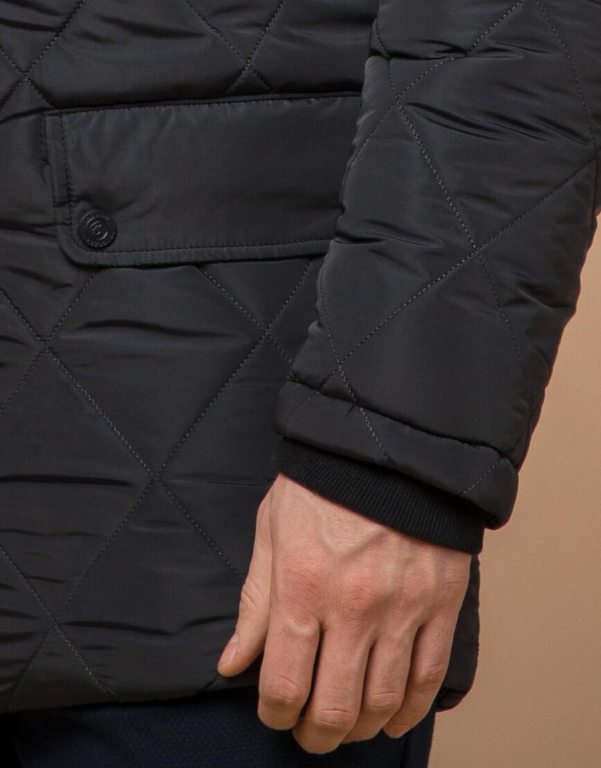 Современная графитовая куртка мужская модель 44842 фото 5
