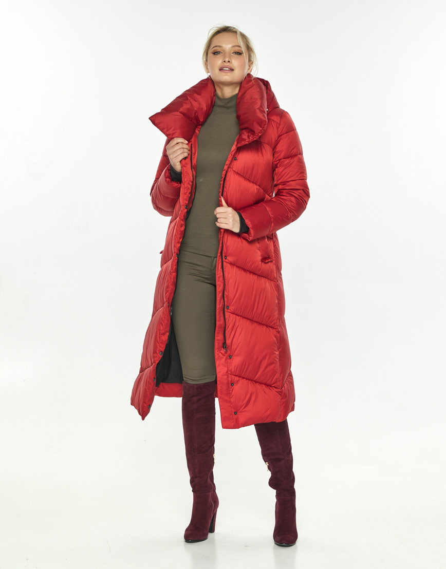 Красная куртка с поясом женская Kiro Tokao 60035 фото 2