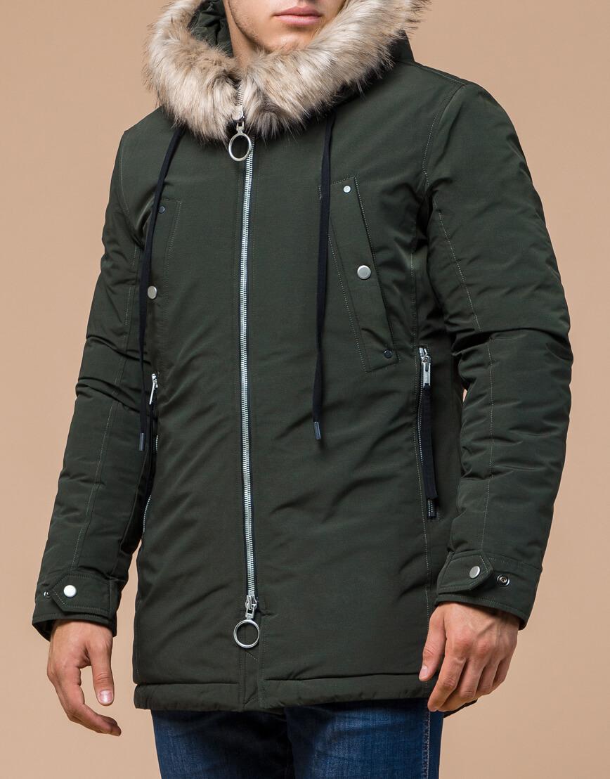 Парка мужская зимняя цвета хаки модель 15231 оптом