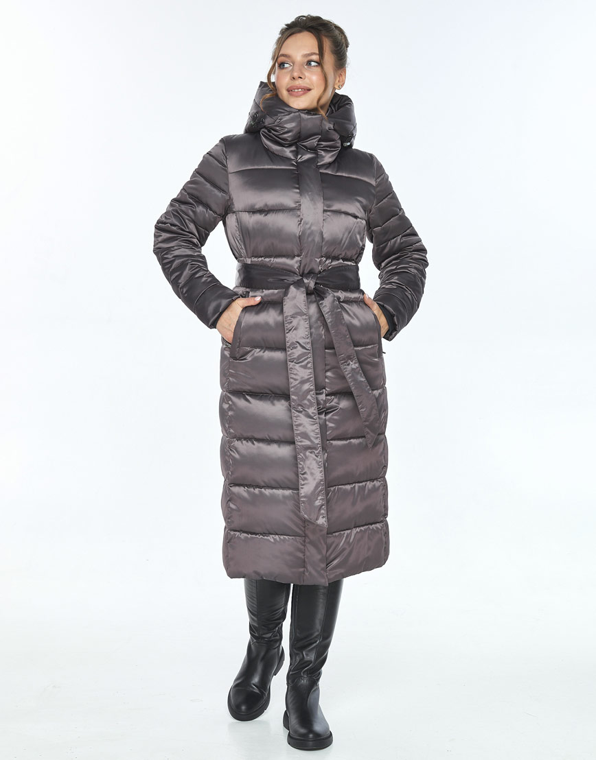 Длинная капучиновая куртка Ajento женская на зиму 21152 фото 2