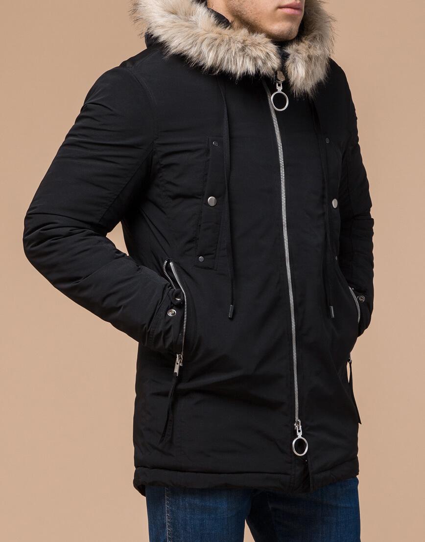 Зимняя мужская парка черного цвета модель 15231 оптом фото 2