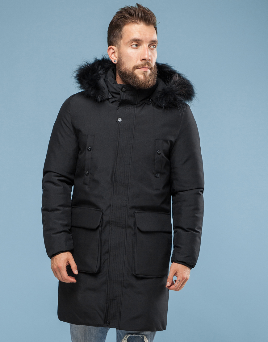 Парка Canada чёрного цвета зимняя мужская 8009 фото 3