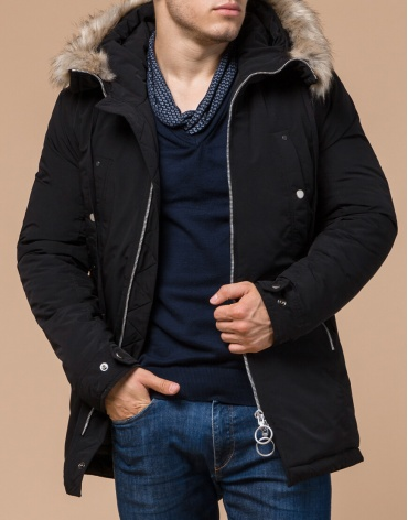 Зимняя мужская парка черного цвета модель 15231 оптом