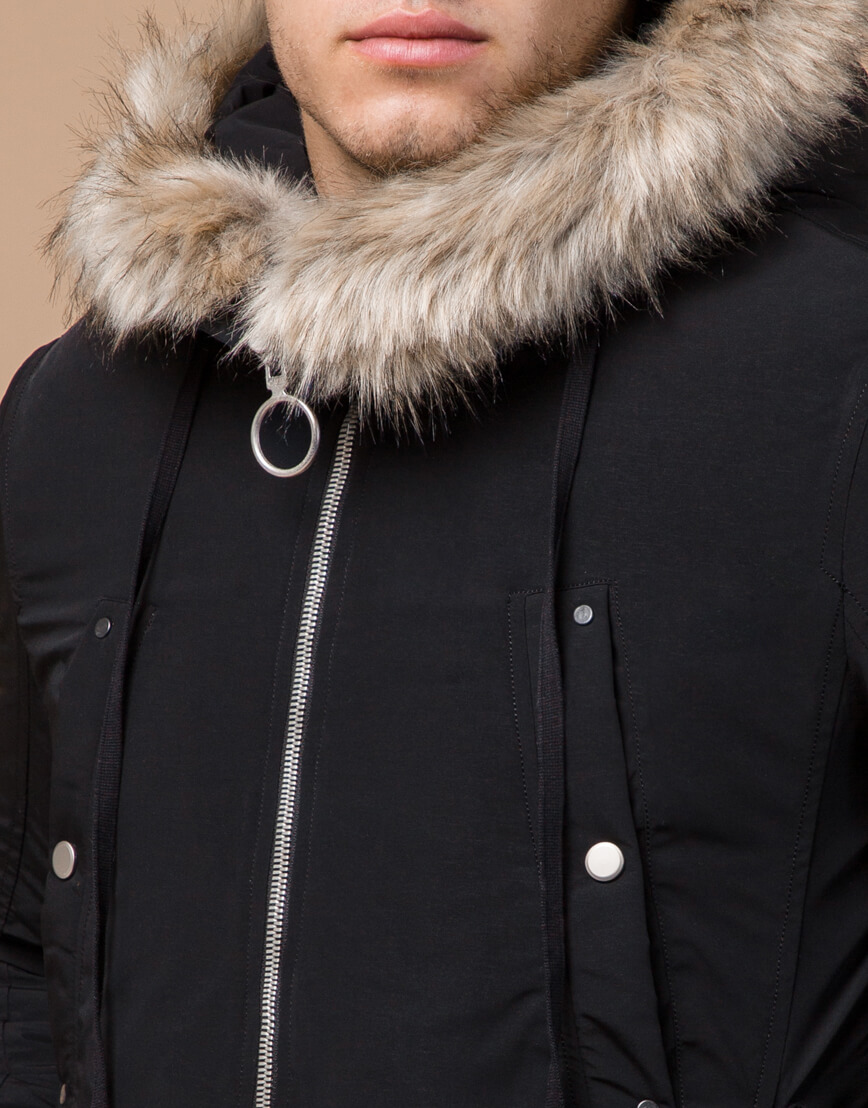 Зимняя мужская парка черного цвета модель 15231 оптом фото 4
