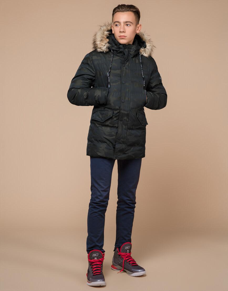 Дизайнерская темно-зеленая куртка зимняя модель 25450 фото 3