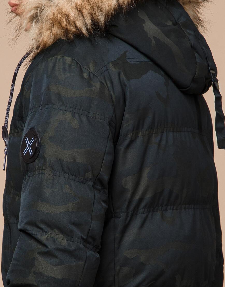 Дизайнерская темно-зеленая куртка зимняя модель 25450 фото 7