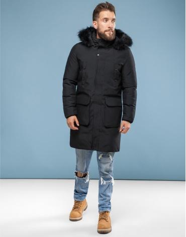 Парка Canada чёрного цвета зимняя мужская 8009 фото 1