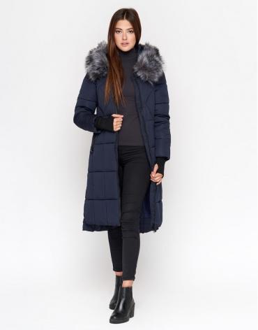 Куртка синяя женская с опушкой модель 18013 фото 1