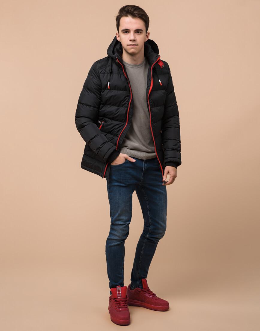 Комфортная подростковая куртка цвет черный модель 75263 оптом фото 3