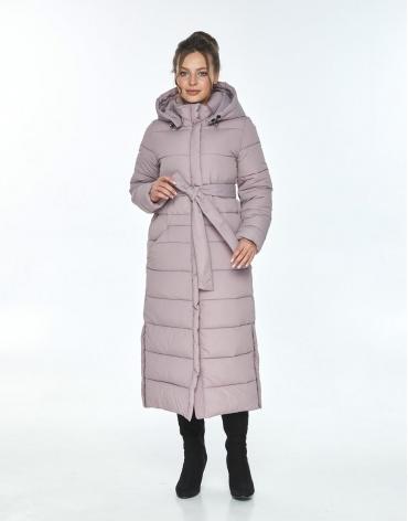 Пудровая зимняя куртка Ajento длинная женская 21207 фото 1