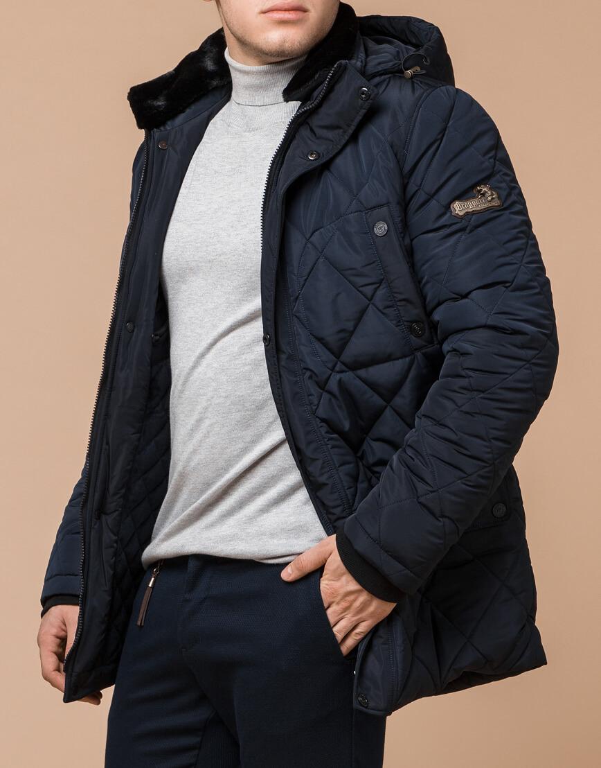 Синяя куртка качественного пошива на зиму модель 44842 фото 2