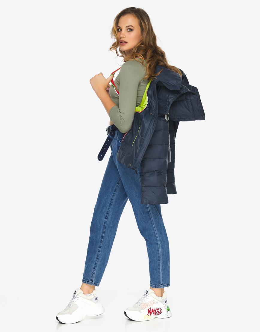 Пуховик куртка Youth темно-синяя трендовая женская модель 21470 фото 2