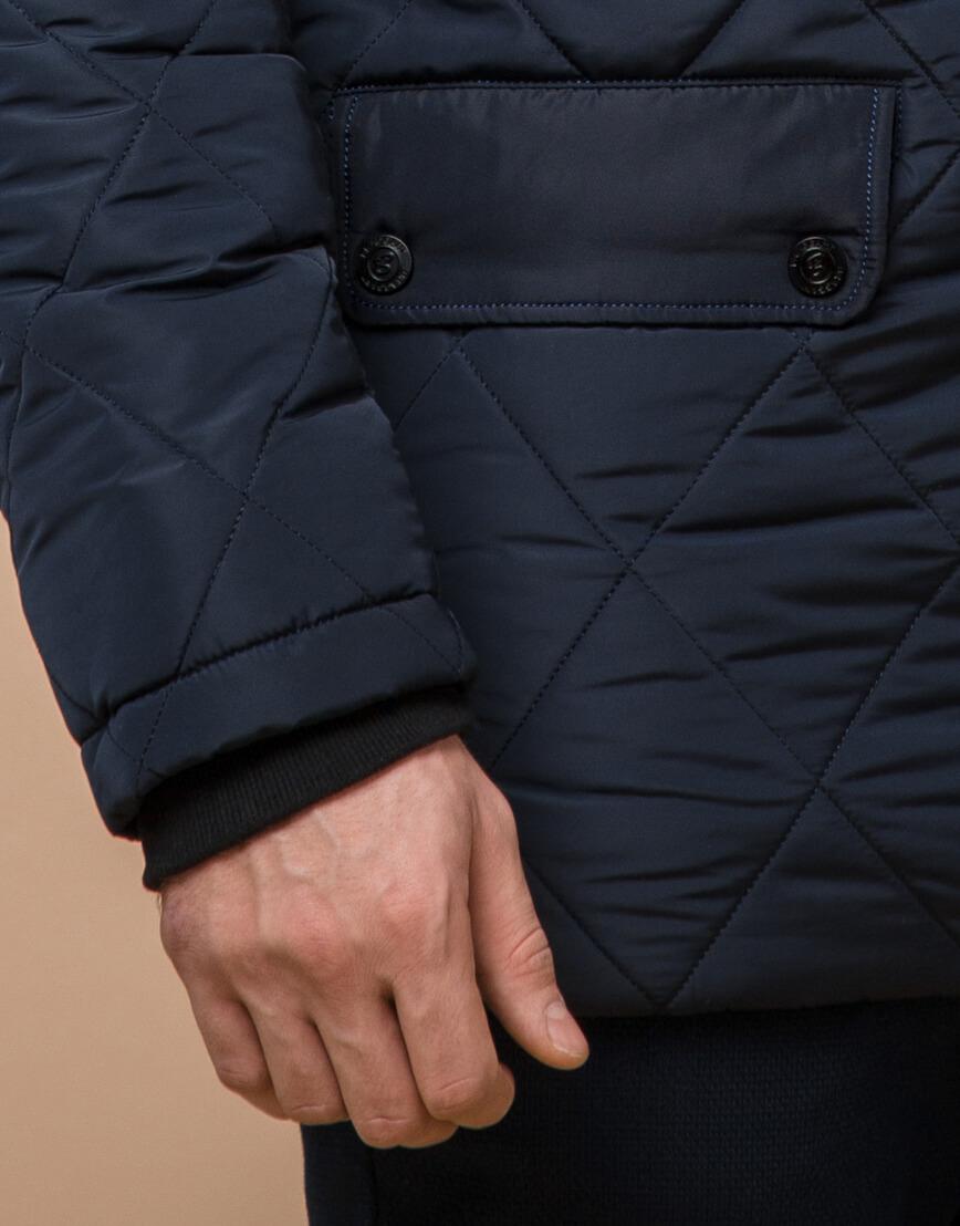 Синяя куртка качественного пошива на зиму модель 44842 фото 5