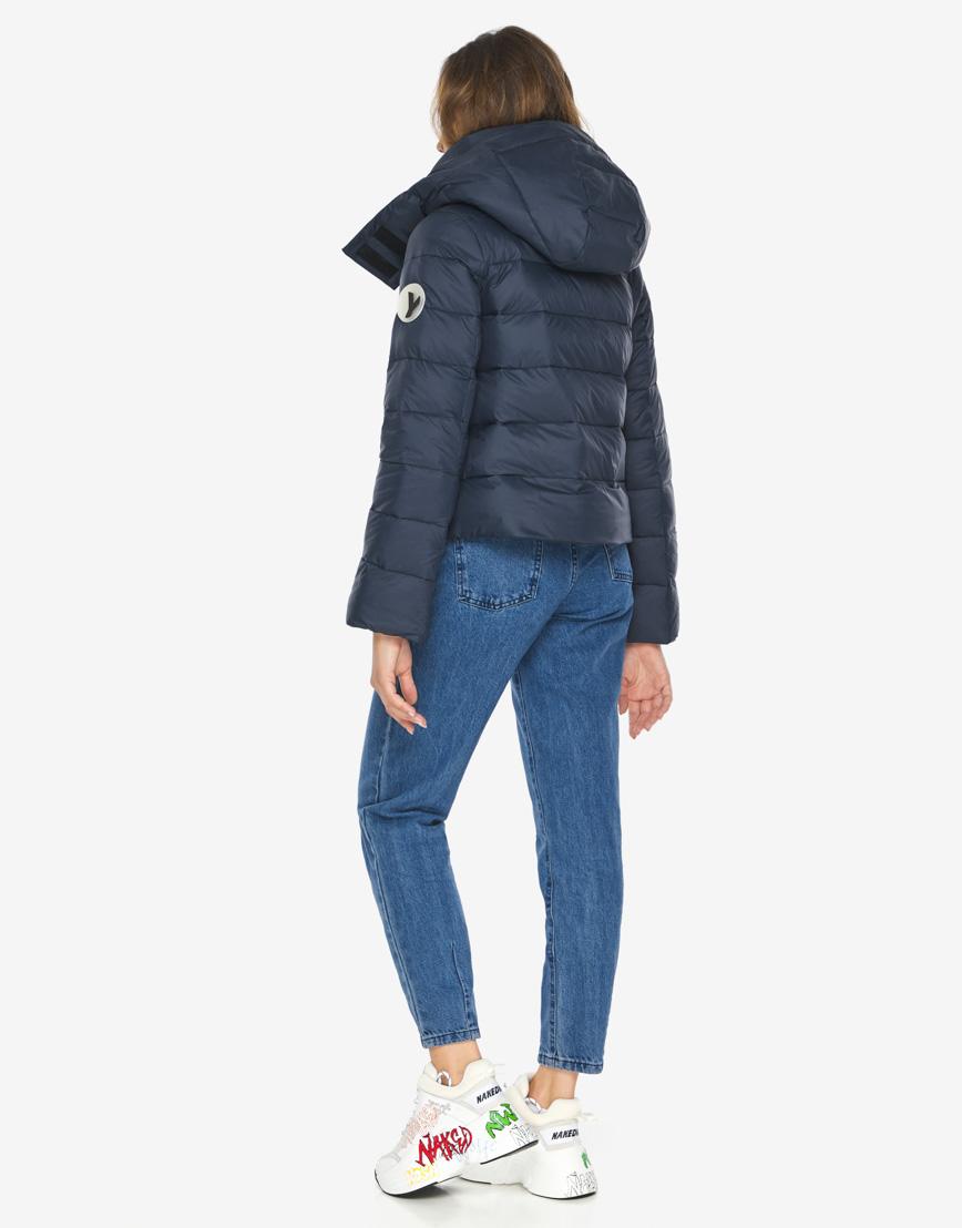 Пуховик куртка Youth темно-синяя трендовая женская модель 21470 фото 6