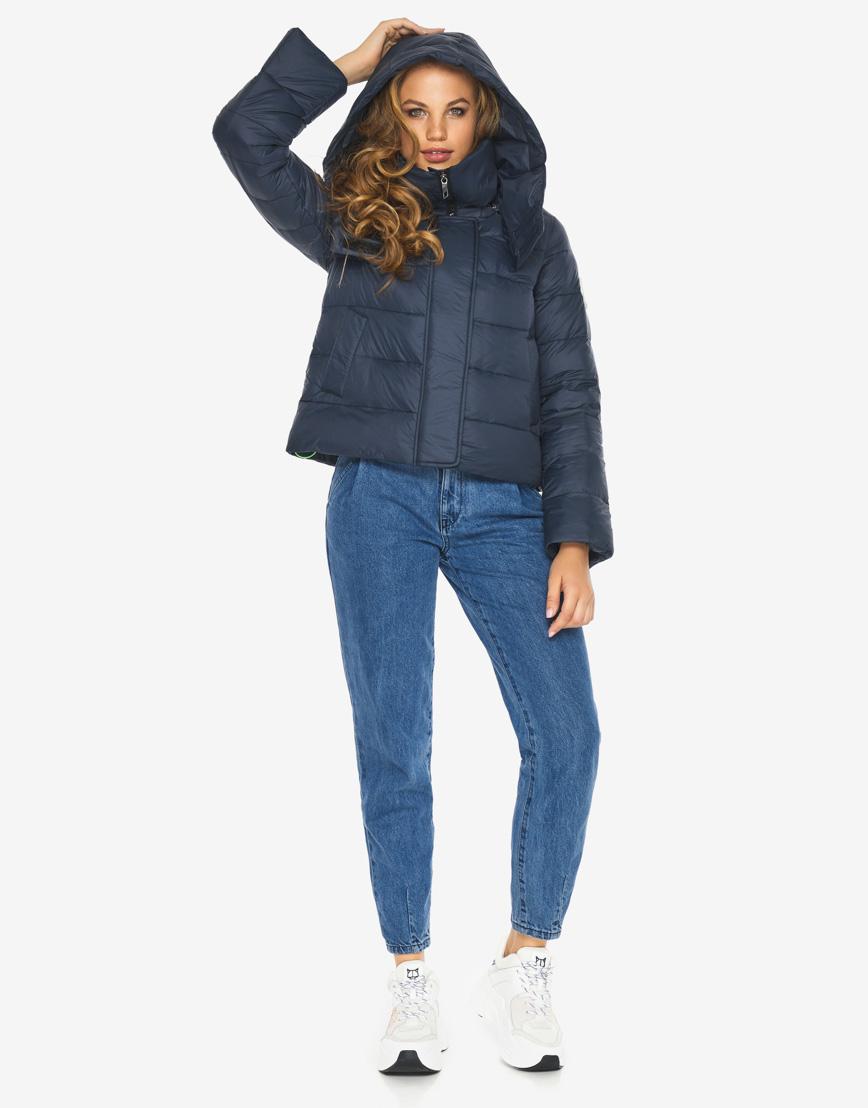 Пуховик куртка Youth темно-синяя трендовая женская модель 21470 фото 1
