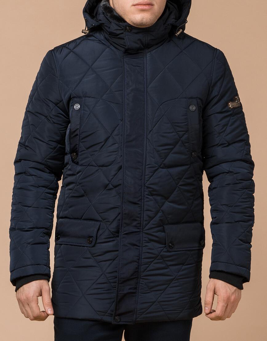 Синяя куртка качественного пошива на зиму модель 44842 фото 1