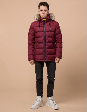 Качественная подростковая куртка бордового цвета модель 73563 оптом