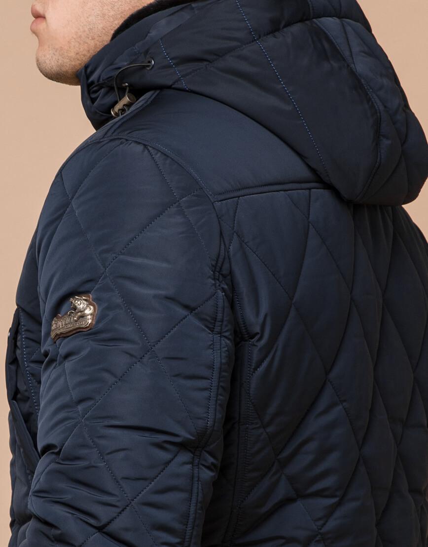 Синяя куртка качественного пошива на зиму модель 44842 фото 4