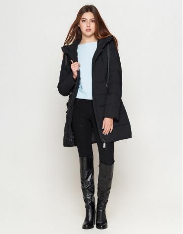 Брендовая куртка женская молодежная черного цвета модель 25435
