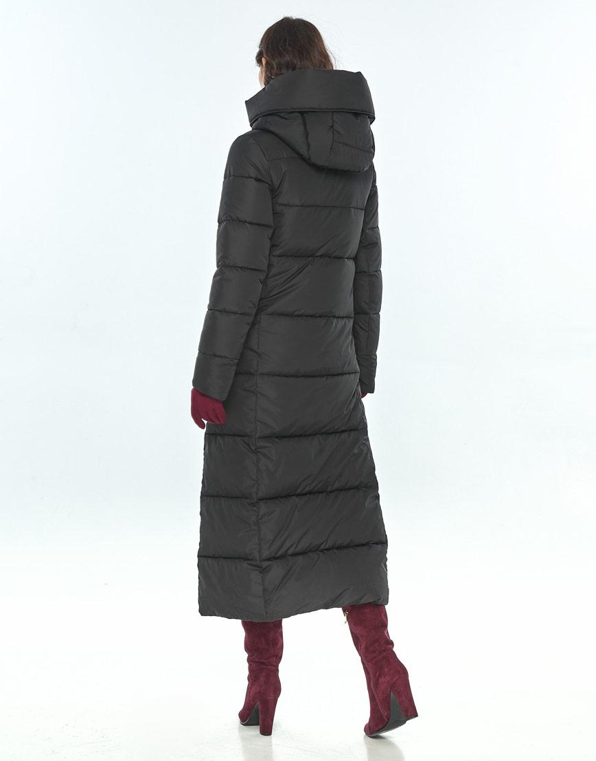 Длинная чёрная куртка женская Vivacana стильная 8706/21 фото 3