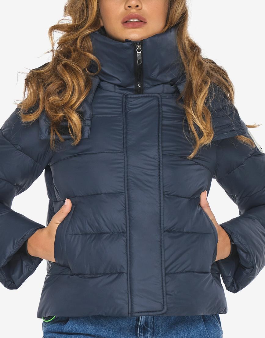 Пуховик куртка Youth темно-синяя трендовая женская модель 21470 фото 7